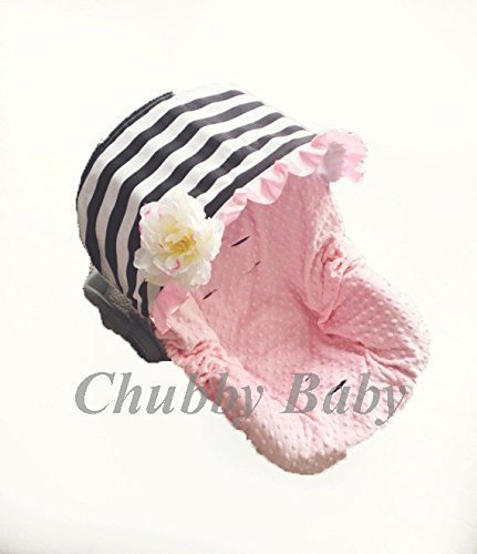 Baby Car Sseat Cover, Canopy in black white Stripes Seat in baby pink minky, flower not included. FREE strap covers included