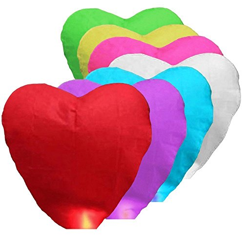 Alrens_DIY(TM) 7 Pcs Random Assorted Color Chinese Sky Fly Fire Paper Lanterns Wish Balloon Wishing Lamp for Wedding Birthday Christmas Party (Heart Shaped)