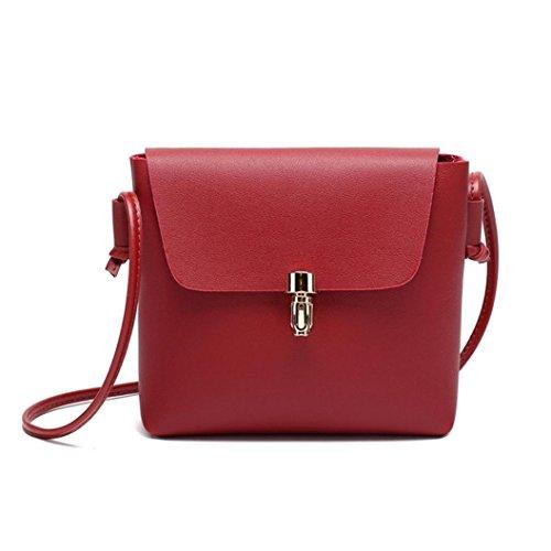 Bolsos de hombro,Gusspower Mujeres Bolsos de hombro cuero de imitación Satchel Crossbody Tote Bolsos de mano pequeño barato para niñas Señoras (Azul) Rojo