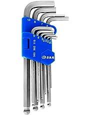 S&R Innensechskantschlüssel Satz 10-tlg HX mit Kugelkopf, lang, in Kunststoffclip | Winkelschlüsselsatz Langarm, HX 1,5; 2,0; 2,5; 3,0; 4,0; 5,0; 6,0; 7,0; 8,0; 10,0 mm