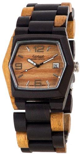 Tense Wood Watch Mens Inlaid Multicolor w/Date Window G8300DM LF (Light Face)