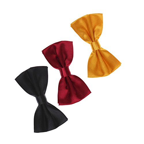 DBEE0008 Various of Colors Solid Pre-tied Bow Ties Satin Working Day Gift 3 Pre-tied Bow Ties Set - Gold, Dark Red, Black By Dan Smith