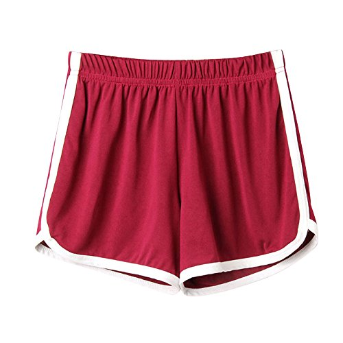 - TRENDINAO Womens Drawstring Runner Shorts,Casual Mid Waist Striped Loose Waist Ringer Summer Sport Shorts Pants Wine