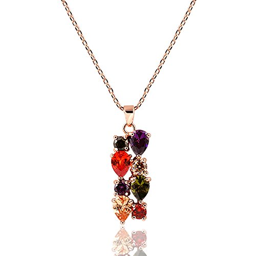 Swarovski Elements Crystal Rose Gold Plated Multicolor Flower Cubic Zirconia Jewelry Sets for Women, Gifts for Women (1, Pendant)