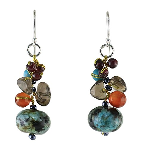 Novica Jasper Ring - NOVICA Multi-Gem Jasper .925 Sterling Silver Beaded Earrings 'Exotic Cluster'