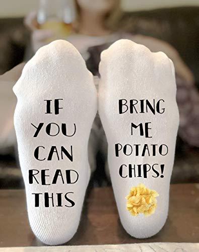 (If You Can Read This Bring Me Potato Chips Socks Novelty Funky Crew Socks Men Women Christmas Gifts Cotton Slipper Socks)