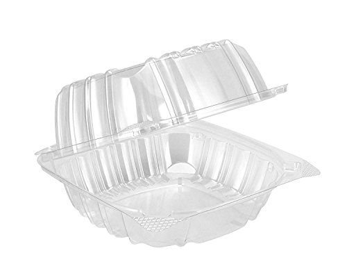 A World Of Deals AWOD7105 AWOD77105 Clamshell Square Clear Hinged [50 Pack] Take-Out Plastic Salad Go Sandwich Containers [Size: 5 3/8