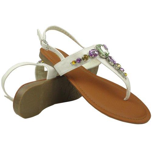 Womens T-strap Kleurrijke Edelstenen Platte Casual Sandalen Witte Schoenmaat 5.5-10 Wit