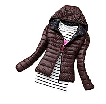 Womens Winter Long Sleeve Warm Hooded Parka Jacket Thicken Short Down Coat Jacket Thicken 1 XS