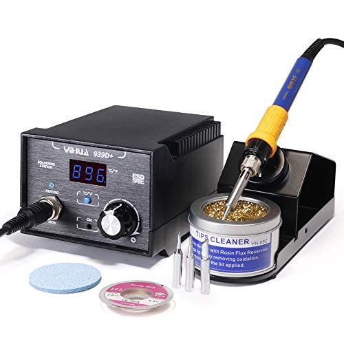 Yihua 939D+ Professional 75 Watt Digital Soldering Iron Station ESD SAFE °F /°C Switch with Extras - 3 Solder Tips, Lead-Free Solder Wire and Goot Wick