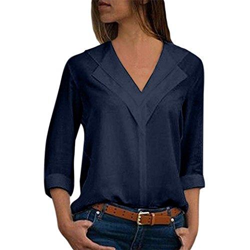 zahuihuiM Femmes Printemps Automne Mode Nouveau Tshirt Mousseline de Soie Solide Vcou  Manches Longues Plaine Rouleau Manches Bureau Tops Blouses Marine