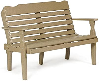 Leisure Lawns Amish Made Recycled Plastic Park Bench (Horiz. Back) Model #420 - Ships Free Within 2 to 3 Weeks