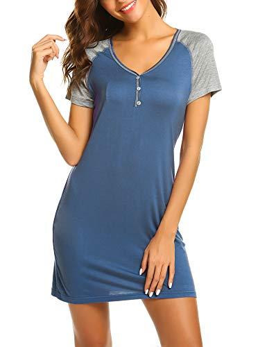 Ekouaer Nightgown Comfy Nightshirts Cozy Lounge Wear Sleeping Dress Modal Pajama Tees(Navy Blue/M)