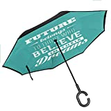 Bottle Tip Motivational Reverse Folding Umbrella Hipster Letters Saying Advice Believe in Your Dreams Have Faith in Yourself Upside Down UV Protection Windproof, 42.5'x31.5'Inch Teal White