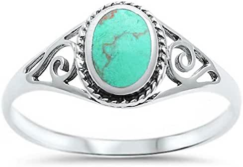 Sterling Silver Oval Green Simulated Turquoise Filigree Ring Sizes 4-12
