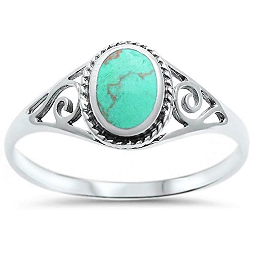 Green Turquoise Heart (Sterling Silver Oval Green Simulated Turquoise Filigree Ring Sizes 10)