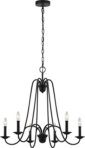 Feiss F3205/6AF Boughton Chandeliers Lighting for Foyers And Great Rooms, 6-Light, 360 Watts, Antique Forged Iron (28