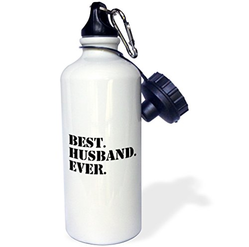 3dRose wb_151520_1 Best Husband Ever-Fun Romantic Married Wedded Love Gifts for Him for Anniversary Or Valentines Day Sports Water Bottle, 21 oz, White