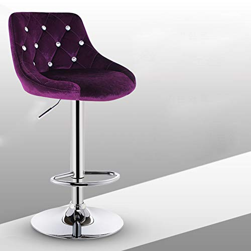 Suede Adjustable Bar Stools - Modern Pu Leather Barstools, 360 Degree Swivel Adjustable Height High Stool with Backs Pub Chair Filled Cotton Metal Counter Bar Stool Chair for Bar Office Home-Purple