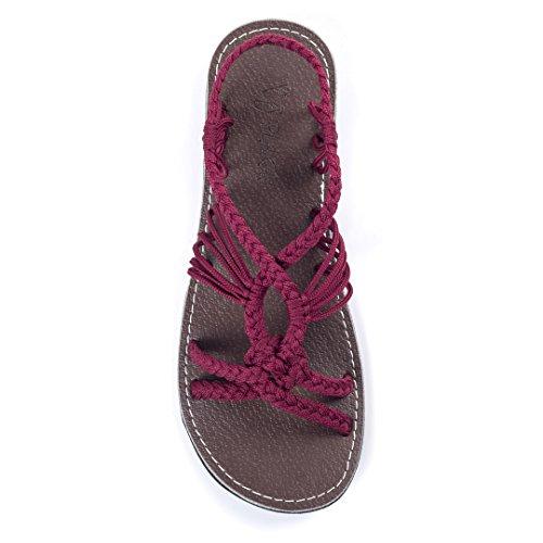 Plaka Flat Summer Sandals for Women Sunset Sangria 7 Peacock