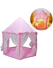 deAO Robustes Princess Castle Spielzelt mit großen Sternenlichtern - ideal für Indoor- und Outdoor-Spiele für Kinder
