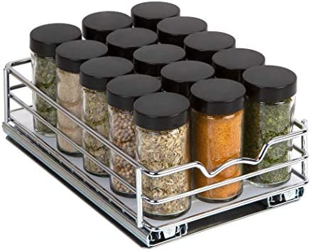 Spice Rack Organizer for Cabinet – Pull Out Spice Rack 6-3 8 W x 10-3 8 D x 2-1 8 H for Upper Kitchen Cabinets and Pantry Closets, For Spices, Sauces, Canned Food etc. Professional Chrome Finish