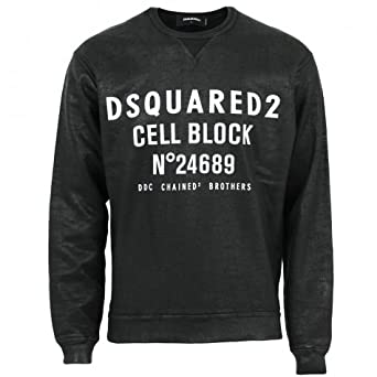 DSquared cell block crew neck sweatshirt Black M  Amazon.co.uk  Clothing 72f74f9e25a