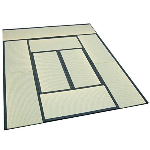 TATAM Tatami Mat Japanese Traditional 1/4 Size (17x34 inch) 10 piece set Unit mattress Made in Japan (Black)