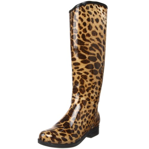 English Women's Leopard dav Rain Knee Black Leopard Boot High A5xZd4wZq