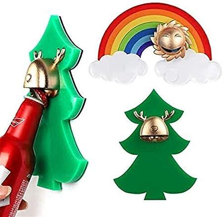 HSJ Cerveza Personalizada Multifuncional Navidad Ciervos de Oro Ciervo de Oro Arco Iris abridor Regalo (Color : Christmas Tree)
