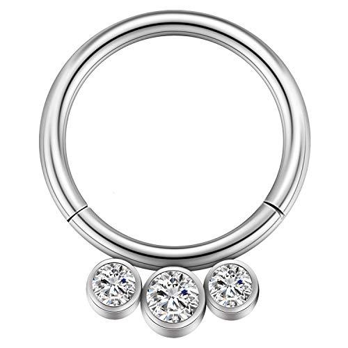 GAGABODY 16G 10mm G23 Titanium Septum Clicker Hinged Segment Hoop Nose Ring Prong Set Clear CZ Gems -