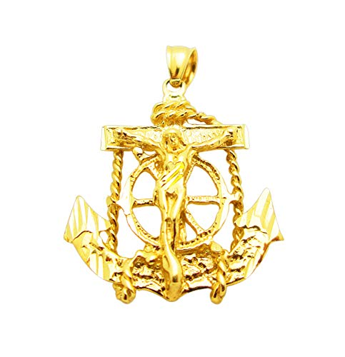 AMZ Jewelry 10k Yellow Gold Mariner's Cross Charm Mens Anchor Pendant 1 in