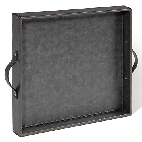 Ranslen Square PU Leather Serving Tray with Handles 15