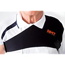 NMT Shoulder Brace ~ Arthritis, Joint, Pain Relief, Support ~ Flexible Strap Wrap for Men and Women ~ Natural Physical Therapy ~ New Black Tourmaline Healing Remedy
