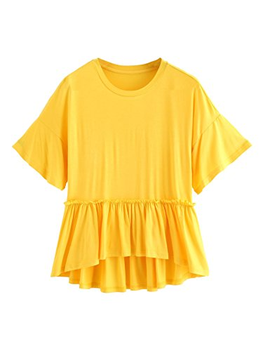Romwe Women's Loose Ruffle Hem Short Sleeve High Low Peplum Blouse Top Yellow X-Large ()