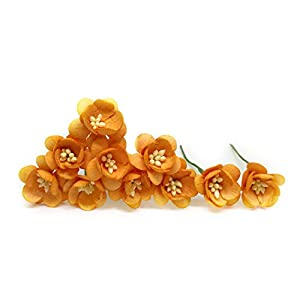 "1"" Orange Cherry Blossom Flower Artificial Flowers Paper Flowers Synthetic Flowers Fake Flowers Paper Craft Flowers Mulberry Paper Flowers Wedding, 25 Pieces 12"