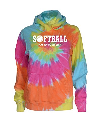 (JANT girl Softball Tie Dye Sweatshirt - Play Tough White Logo (Pastel Twist, M))
