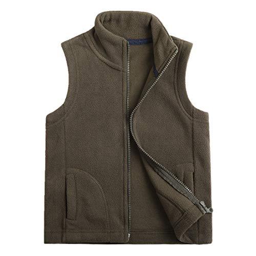 (Sooxiwood Little Boys Fleece Vest Pocket Zipper Size 8 Dark-Army-Green)