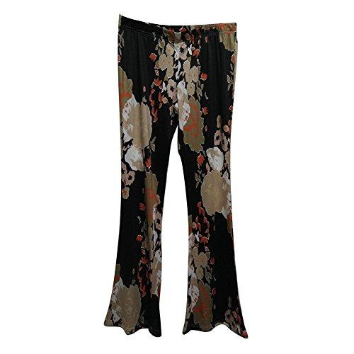 sera Marlene Pantaloni Partywear Donna stampati Juleya bootcut Flare festosi Pantaloni 4 Abiti pantaloni a alta casual Fiori Pantaloni vita da Colore eleganti HtwtSTqxY