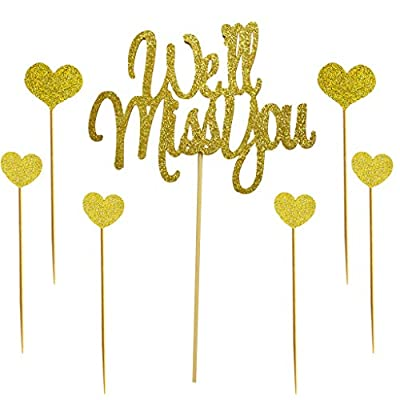 We'll Miss You Cake Topper for Retirement,Graduation,Going Away Party Cake Decorations Supply: Toys & Games