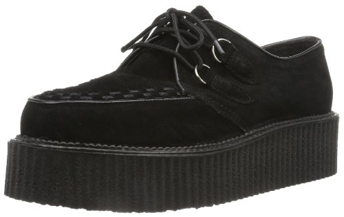 Demonia by Pleaser Men's Creeper 402S Lace-Up,Black Suede,12 M - Lace Oxfords Pleaser