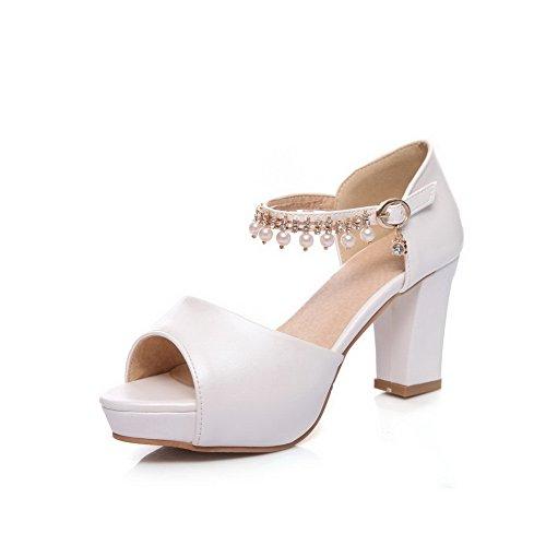 1TO9 Womens Beaded Peep-Toe Platforms-Sandals Urethane Platforms Sandals MJS03016 White ZNwoz7uym