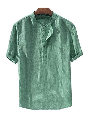 Mens Linen Button Down Shirts Beach Short Sleeve Cotton Lightweight Tops Summer Tees Plain Mandarin Collar Blouses ()
