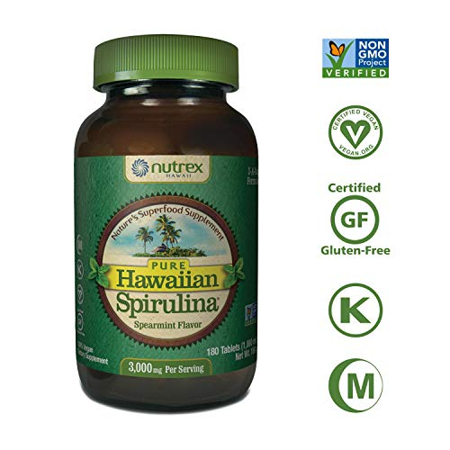Pure Hawaiian Spirulina-1000mg Tablets Spearmint 180 ct - Natural Premium Spirulina from Hawaii - Vegan, Non-GMO, Non-Irradiated - Superfood Supplement & Natural Multivitamin