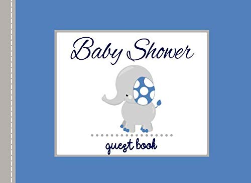 Baby Shower Guest Book: Navy Blue Elephant Advice for Parents and Gift Log ()