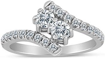 SK Jewel Inc 0.65ctw Diamond Two Stone Ring