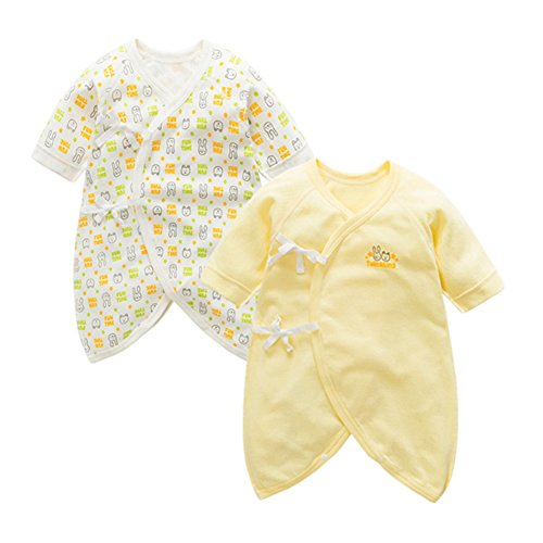 Fairy Baby Newborn 2 Pack Baby Clothes Japanese Kimono Gown Cotton Floral Romper Pajamas Size 0-3M (Yellow Group) by Fairy Baby