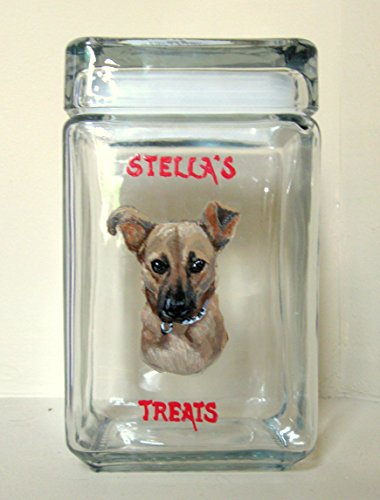 German Shepherd Puppy, Dog Treat Jar, Kitchen Storage, Hand Painted Glassware, Painted Dog (Treat Shepherd Jar)