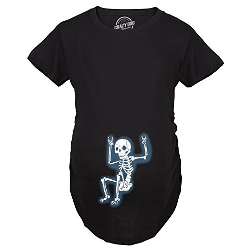 Maternity Rockstar Skeleton Funny T Shirt Halloween Im Pregnant T Shirt (Black) S for $<!--$20.99-->