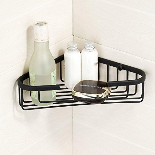 Corner Basket Shower by MAMOLUX ACC| Solid Brass Shower Basket Shelf Tidy Rack Caddy Storage Organizer|Space Saving Toiletries/Cosmetics Holder, Matte Black by Marmolux Acc (Image #1)